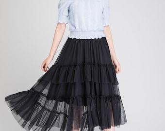 black skirt, dance skirt, tulle skirt, high low skirt, party skirt, boho skirt, summer skirt, womens skirt, layered skirt, handmade 1896