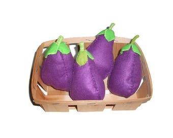 Set of 2 Eggplant felt for dinette or market