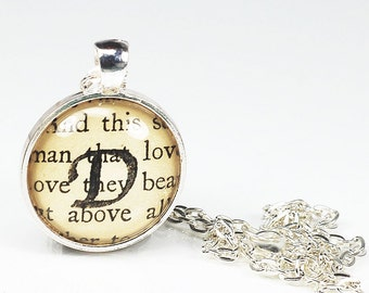 Initial Necklace- Personalized Jewelry with Stamped Vintage Paper, Letter D Initial Jewelry, Silver Custom Necklace, D Pendant Necklace