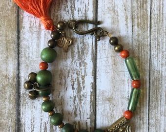 Boho green orange tribal tassel bracelet