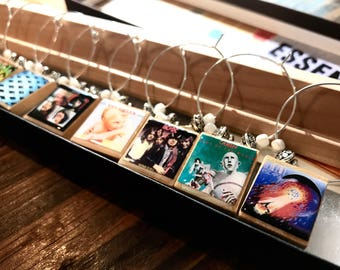 Music Lovers Album Cover Art Scrabble Tile Wine Glass Charms