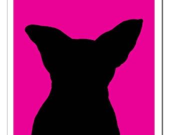 Chihuahua Dog Silhouette-Pop Art Print PERRO