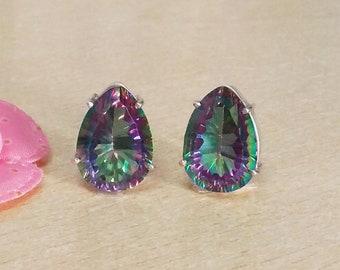 MIDNIGHT MYSTIC TOPAZ Gemstone Studded In Solid 925 Sterling Silver Earrings, Handmade Stud Earrings, November Birthstone