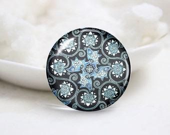 Handmade Round Photo glass Cabochons-China Flower (P2908)