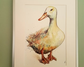 Pekin Duck print, Painting - Mixed Media - Acrylic Watercolour Pen. Duck, farm yard, kitchen decor, wall art, countryside, nursery, duckling