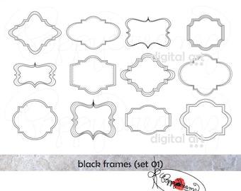 Black Frames: Clip Art Pack (300 dpi) Digital Images (transparent png files) Card Making Labels Frames Digital Scrapbook