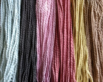 Cotton Weaving Yarn Selection, Natural Dye, Handspun, Plant-Dyed Cotton, Bulky Yarn, Woven Wall Hanging, 150g 5.3oz