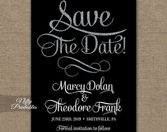 Black Save The Date Invitations - Printable Black & Silver Glitter Chic Save The Date Invites - Elegant Save The Date Announcements WBS