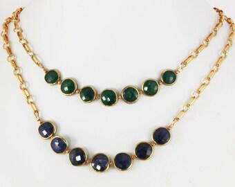 Emerald Statement Necklace Precious Gemstone Necklace Green Emerald Necklace Genuine Emerald Jewelry BZ-N-109-Em/g