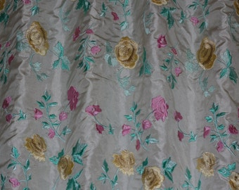 "Ivory Silk Taffeta w/ Flowery Embroidery 100% Silk Fabric, 54"" Wide, By the Yard (EB-951A)"