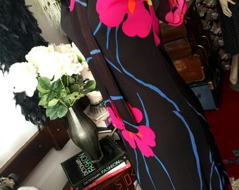 70s Hibiscus print day dress