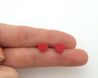 Small Red Acrylic / perspex laser cut earrings heart studs