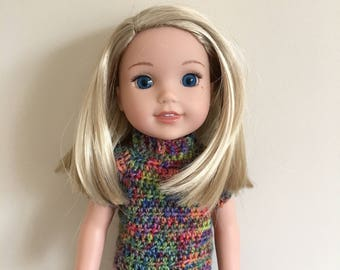 """14.5"""" doll sweater. For dolls such as American Girl Wellie Wishers. Dolls clothes. Doll top. Handmade, crocheted"""