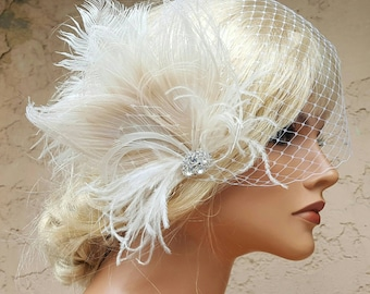 Wedding Fascinator, Feather Hair Clip, Ivory Fascinator, Bridal Hair Fascinator, French Net bridal veil , Great Gatsby, 2 piece set,