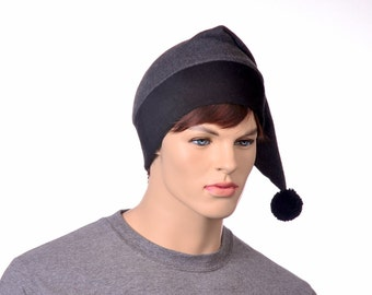 Gray Stocking Cap Extra Large Mens Hat Womens Hat Long Pointed Elf Beanie