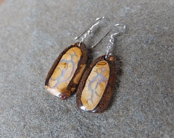 Large Boulder Opal earrings - earthy, natural -  handmade in Australia by NaturesArtMelbourne - brown biege pale blue jewelry