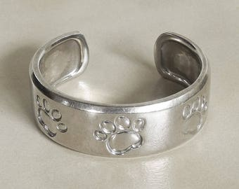 Sterling Silver Dog Paw Bracelet - Dog Cuff Bracelet - Dog Paw Bracelet - Sterling Silver Dog Cuff - Silver Dog Paw - Roca Fine And Dandy