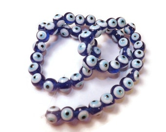 Evil Eye Beads, Dark Blue Glass Beads, 8mm Beads, Approx. 50 Bead Strand, Cobalt Blue, Craft Beads, For Protection, Amulet Type Beads
