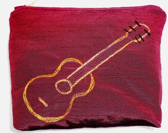 Burgundy guitar motif make-up bag - hand made, free-motion embroidery & fully lined