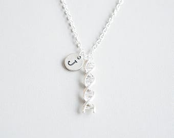 dna pendant other biology jewelry necklaces silver necklace en plane