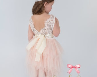 Blush flower girl dress, toddler flower girl dresses, lace flower girl dress, tulle flower girl dress, vintage lace flower girl