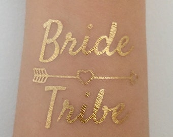 Bachelorette Party Favors, Metallic Gold Flash Bride Tribe Tattoos, Bachelorette Party Waterproof Tattoos - Bride Tribe Tattoo