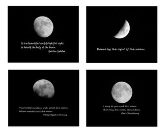 MOON QUOTES Note Cards--Note Card Set, Stationery, Blank Cards, Thank You Notes, Greeting Cards, Moon Cards, Photo Cards, Hostess Gifts