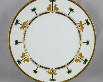 Christian Dior Casablanca Plate Vintage Christian Dior Dinner Plate Leopard And Palm Tree Border & Bone china palm tree | Etsy
