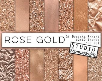 Rose Gold Foil and Glitter Textures - Rose Gold Digital Paper - Warm Gold Backgrounds - Gold Glitter Backgrounds - Instant Download