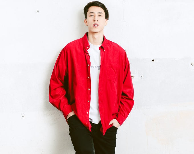 90s Red Cord Shirt . Vintage Oxford Corduroy Shirt Vintage 90s Button Down Men's Shirt Boyfriend Hipster Gift for Men . size Extra Large XL