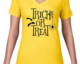 CLEARANCE FINAL SALE Trick Or Treat Tshirt, Halloween T Shirt, Funny Halloween Tshirt, Trick-or-treat Tee, Womens V Neck, VNeck