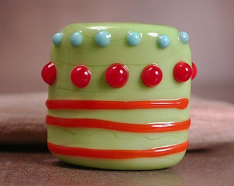 Art Glass Focal Bead, Lampwork Glass Beads, Square Nugget Lampwork, Divine Spark Designs, SRA