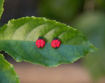Lady Beetle Stud Earrings - Handmade Polymer Clay