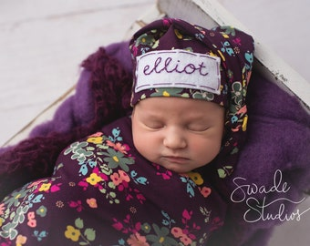 baby girl coming home outfit - personalized baby hat - plum floral print