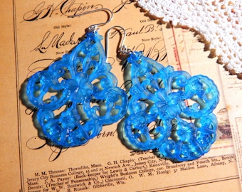 Aqua Blue Vintage German Lucite Filigree Earrings with Sterling Silver Ear Wires - Boho Floral Filigree Earrings