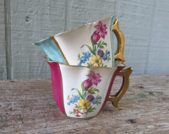 2 Royal Crown Derby Demitasse Cups Floral Blue and Dark Pink with gold trim