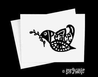 Peace Dove Card Single Notecard Blank Inside