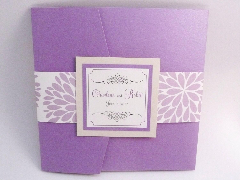 Lavender Wedding Invitation / Purple Invites /Floral Wedding