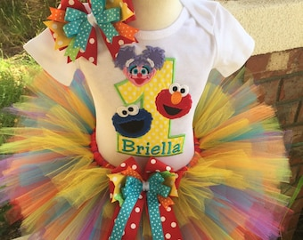 Elmo Abby Cookie Monster Birthday Tutu Outfit Dress Set Handmade 1st 2nd 3rd Sesame Street Party
