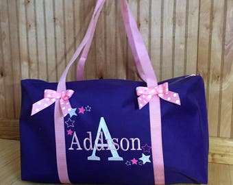 Girls Duffle Bag/Personalized embroidered Purple Duffle bag with Bows/Bag for camp, travel, sleepovers, ballet, dance, gymnastics