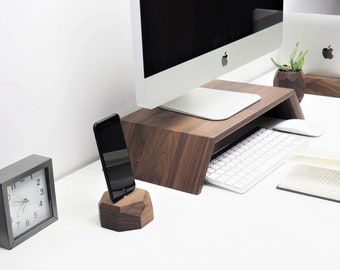 Real wood monitor stand, iMac stand, computer stand, computer display stand, monitor stand wood, computer monitor,desk monitor stand