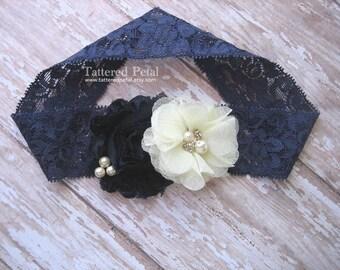 Navy and ivory headband, ivory and navy, navy lace headband, ivory headband, Easter, newborn headband, thick lace, flower girl headband