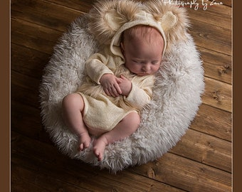 Newborn,RTS,Unisex,Hooded,Long Sleeved,Short Leg,Bear Romper,with fur trimmed ears,tail and fur ties,Photography Prop,several colors avail,