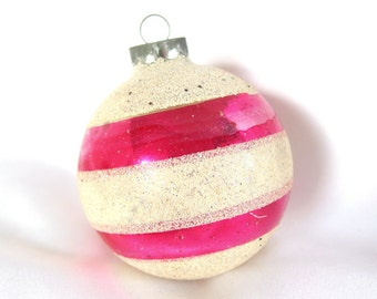 Vintage Christmas Ornament - Large White Mica and Hot Pink Striped USA Christmas Ornament