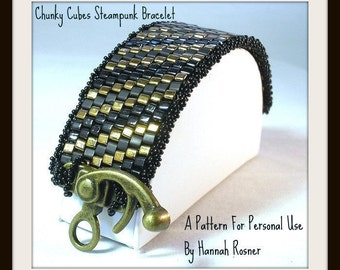 Bead Pattern Chunky Cubes Steampunk Beaded Bracelet - peyote stitch tutorial or instructions by Hannah Rosner