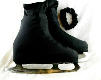 Glace patinage Boot Cover avec chouchou assorti - taille de l'enfant noir