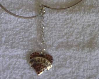 Marines heart charm leather necklace
