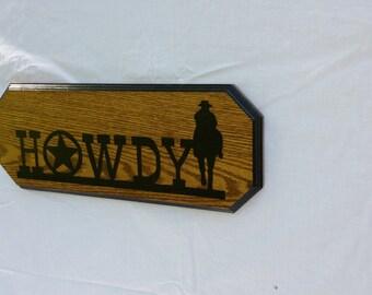 """Cowboy Western """"Howdy"""" Sign"""