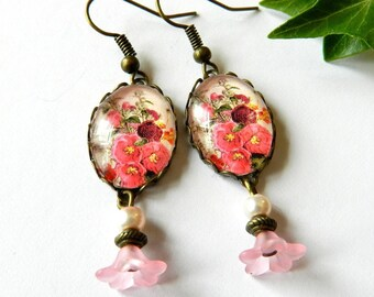 Earrings glass cabochon, flower, retro style pattern, pink and Red