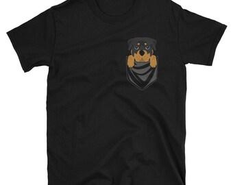 Funny Rottweiler Pocket T-Shirt Cute Dog Gift